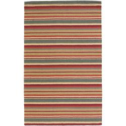 Hand-Tufted Mandara Multicolor Striped New Zealand Wool Rug (9' x 13')