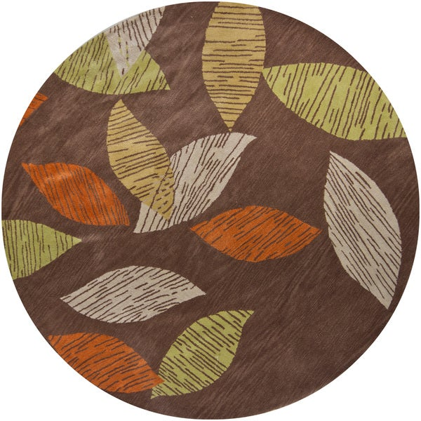 Contemporary Hand-tufted Mandara New Zealand Wool Rug (7'9 Round)