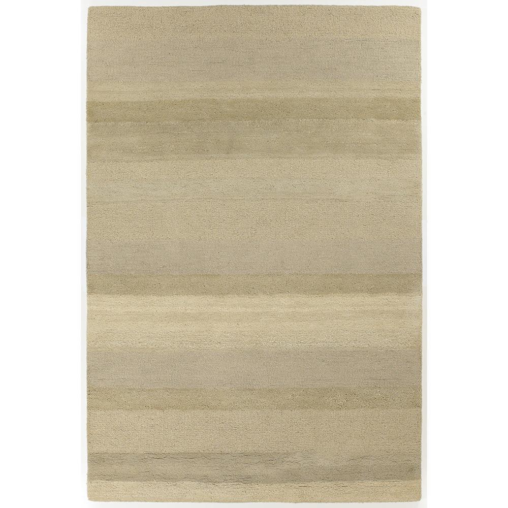 Hand-Tufted Contemporary Beige Striped Mandara New Zealand Wool Rug (6' x 9')