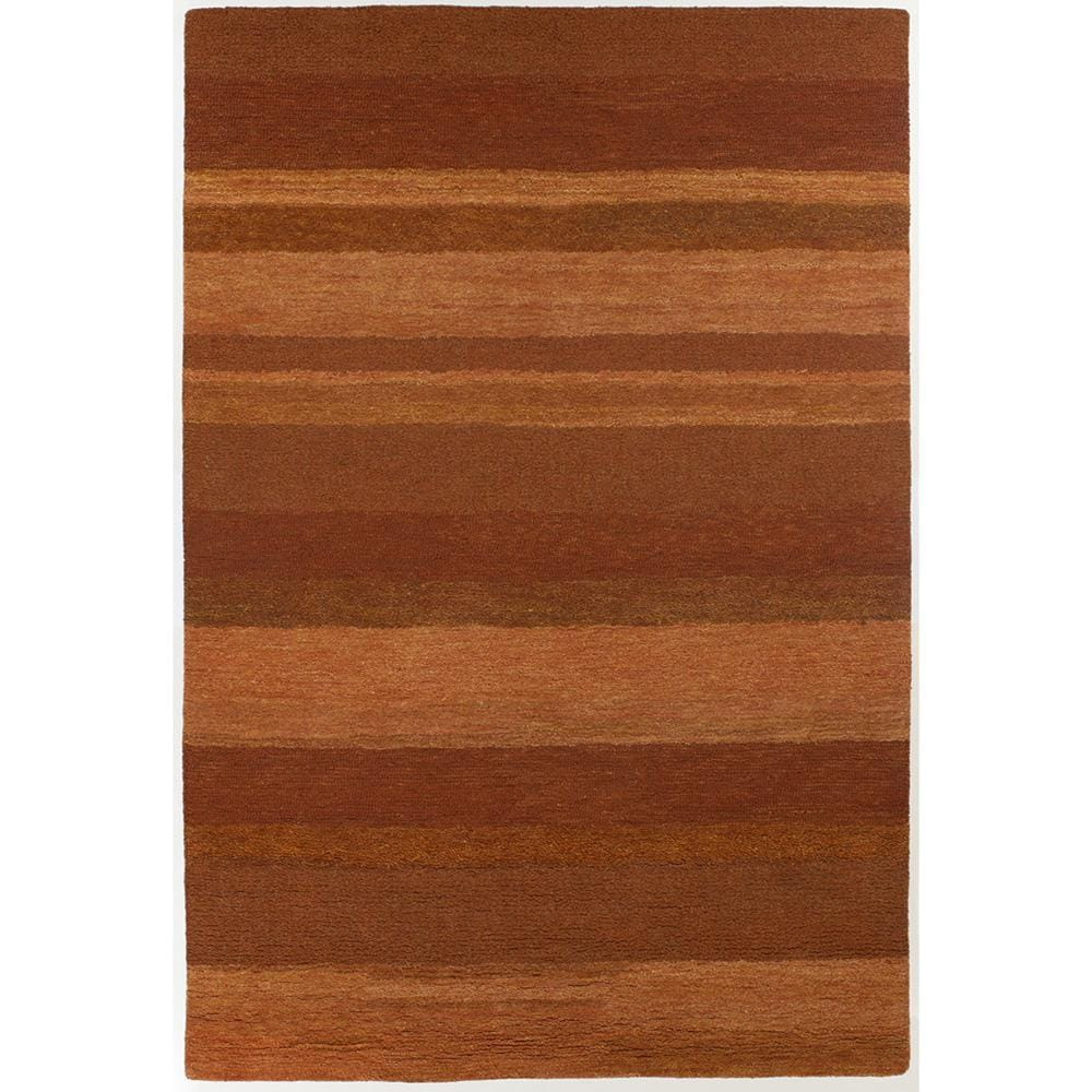 Hand-Tufted Contemporary Orange/Brown Striped Mandara New Zealand Wool Rug (6' x 9')