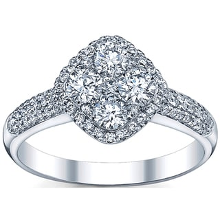18k White Gold 1 1/10ct TDW Round-cut Diamond Engagement Ring (G-H, SI1-SI2)