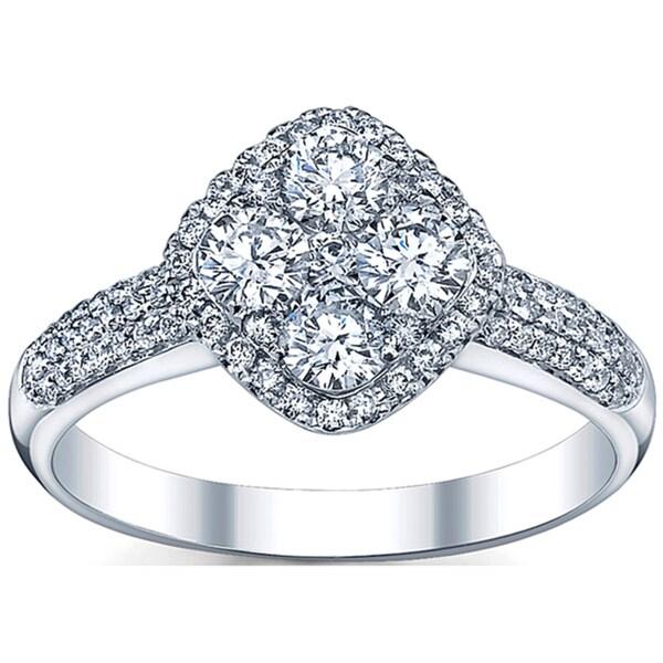 18k White Gold 1 1/10ct TDW Round-cut Diamond Engagement Ring (G-H, SI1-SI2)