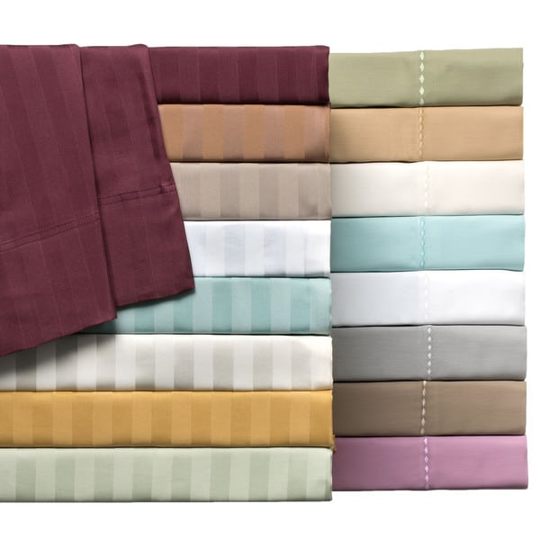 Delray 600tc Cotton-rich Diamond Embroidered Hem or Striped Sheet Set 6-piece Sheet Set