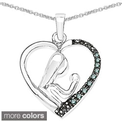 Malaika Sterling Silver 1/10ct TDW Diamond Mother and Child Necklace (I-J, I2-I3)
