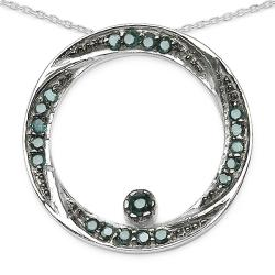 Malaika Sterling Silver 1/4ct TDW Blue Diamond Circle Twist Necklace