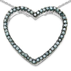 Malaika Sterling Silver 1/2ct TDW Blue Diamond Open Heart Necklace
