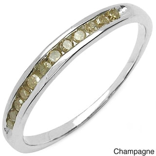 Malaika Sterling Silver Green or Champagne Diamond Ring