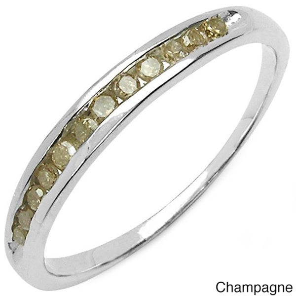 Malaika Sterling Silver Green or Champagne Diamond Ring