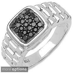 Malaika Sterling Silver 1/5ct TDW Textured Diamond Ring