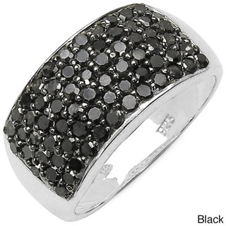 Malaika Sterling Silver 1 1/5ct TDW Black or White Diamond Cocktail Ring