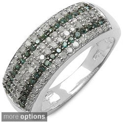 Malaika Sterling Silver 1/2ct TDW Multi-colored Diamond Cocktail Ring (I-J, I2-I3)