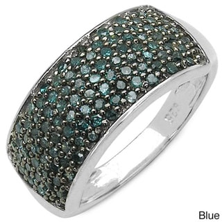 Malaika Sterling Silver 1/2ct TDW Black, White or Blue Diamond Ring