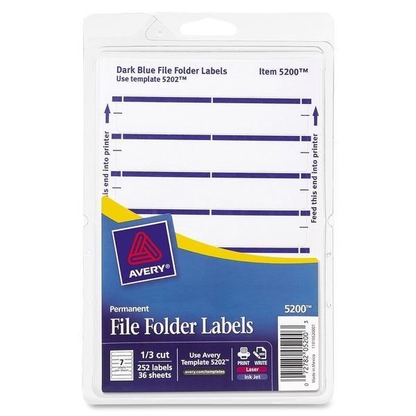 Blue Avery Print or Write File Folder Labels 3-7/16