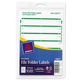 Green Avery Print or Write File Folder Labels 3-7/16