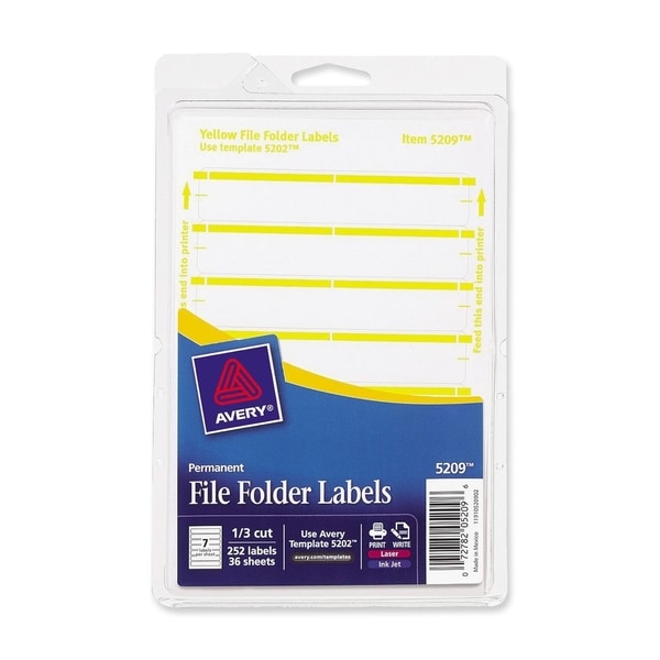 Yellow Avery Print or Write File Folder Labels 3-7/16