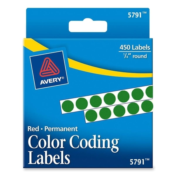 Green Avery Permanent Self-Adhesive Color-coding