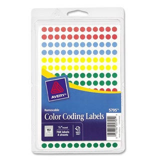 Assorted Avery Removable Self-Adhesive Color-coding