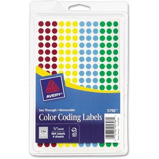 Assorted Avery See-Through Removable Color Dots- 1/4in