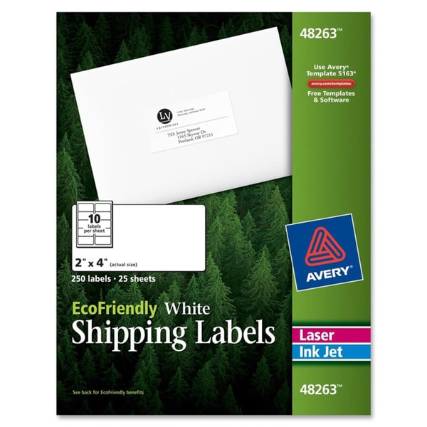White Avery EcoFriendly Labels 2 x 4- White - 250/Pack