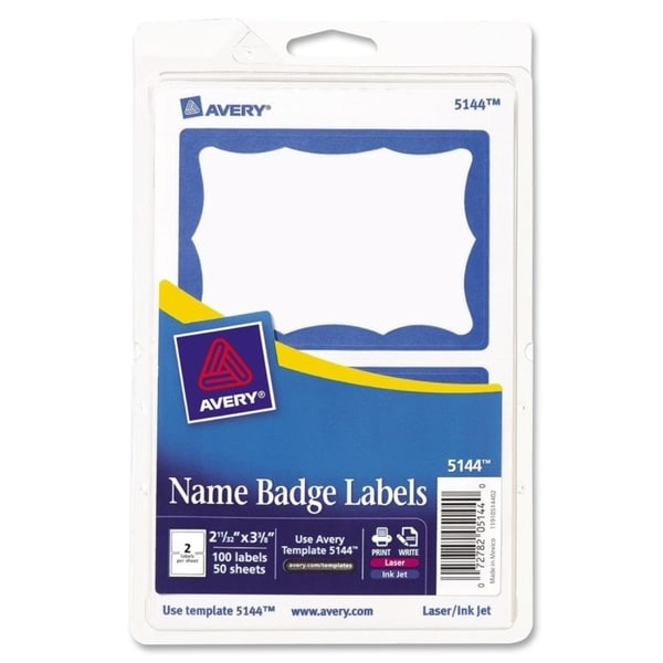 Blue Avery Print/Write Self-Adhesive Name Badges-