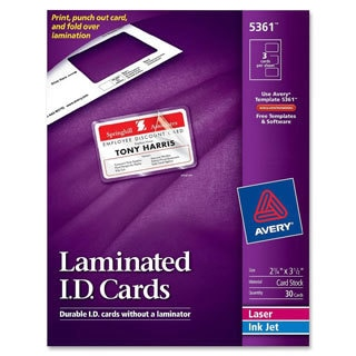 White Avery Laminated Laser/Inkjet ID Cards- 2 x