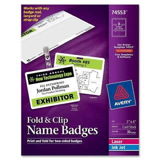 White Avery Fold and Clip Badges- 3 x 4- White - 30/Box