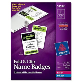 White Avery Fold and Clip Badges- 3-1/2 X 2-1/4- White -