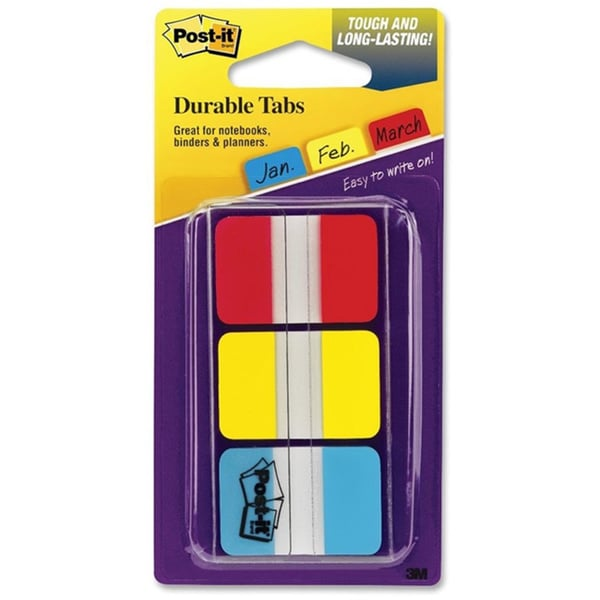 Assorted Post-it Durable File Tabs- 1 x 1 1/2- Assorted