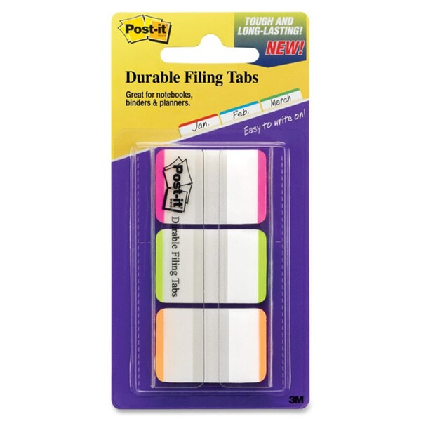 Assorted Post-it Durable File Tabs- 1 x 1 1/2- Striped-