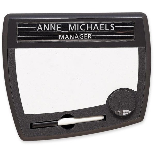 Black Quartet Tack and Write Nameplate- Dry-Erase- 10