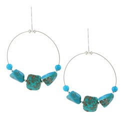 Glitzy Rocks Silver Turquoise Nugget Dangle Earrings