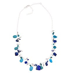 Glitzy Rocks Sterling Silver Turquoise and Lapis Necklace