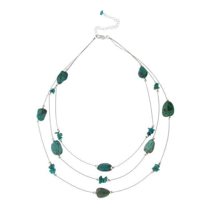 Glitzy Rocks Sterling Silver Turquoise 3-row Necklace