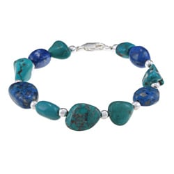 Glitzy Rocks Sterling Silver Turquoise and Lapis Nugget Bracelet