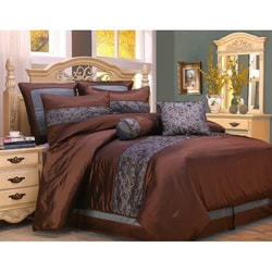 Fritzi Blue and Brown Queen 8-piece Comforter Set