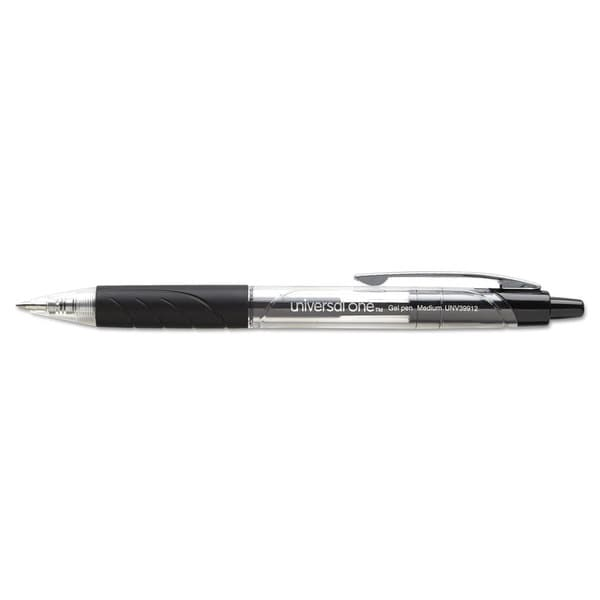 Universal Roller Ball Retractable Black Gel Pens (Pack of 4)