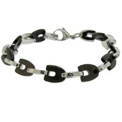 Black and Silvertone Stainless Steel U-link Bracelet