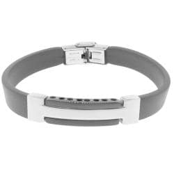 Black Rubber and Stainless Steel Streamline Bracelet
