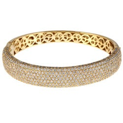 Gold over Sterling Silver Clear Cubic Zirconia Bangle Bracelet