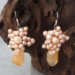 Silver Pink Pearl/ Orange Agate Star Flower Drop Earrings (Thailand)