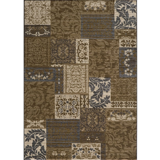 Dream Power-loomed Damask Brown Rug (7'10 x 9'10)