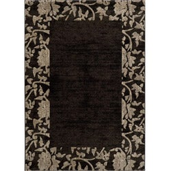 Dream Power-loomed Charcoal Border Rug (5'3 x 7'6)