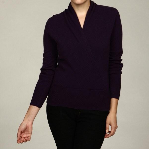 Oliver & James Women's Cashmere Surplice Faux Wrap Sweater FINAL SALE