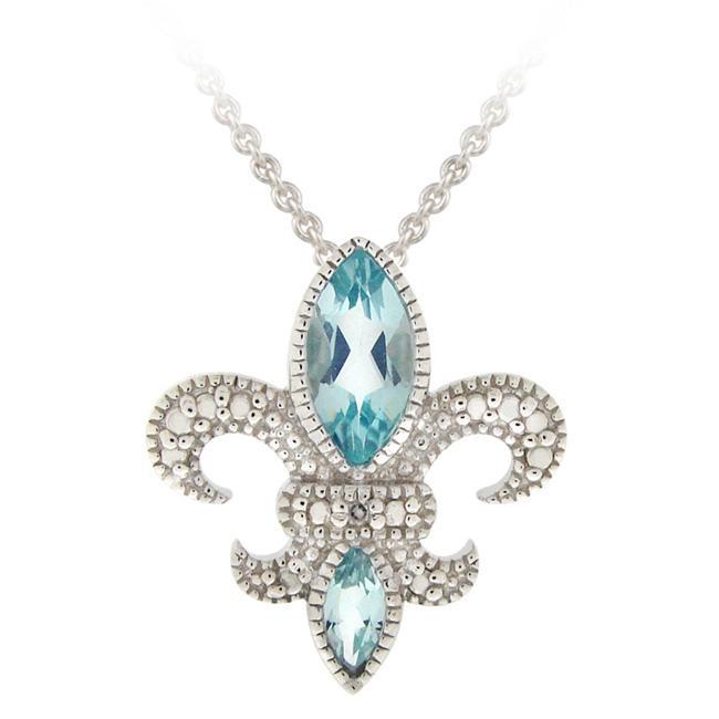 Glitzy Rocks Silver Blue Topaz and Diamond Fleur de Lis Necklace