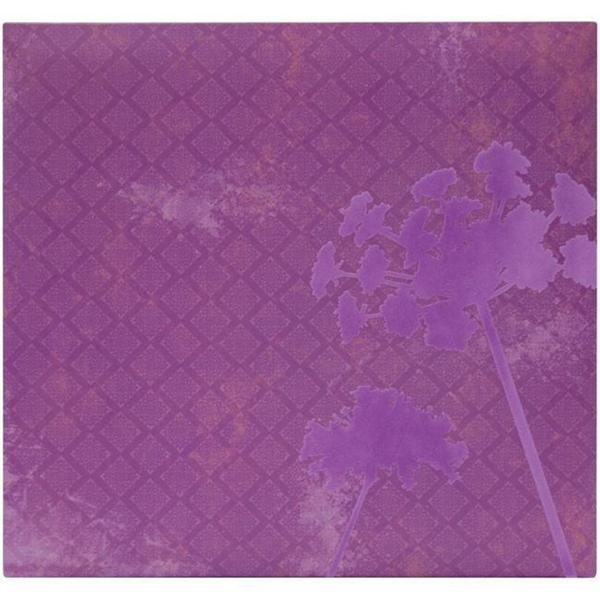 Flocked 12x12 Purple Flower Album