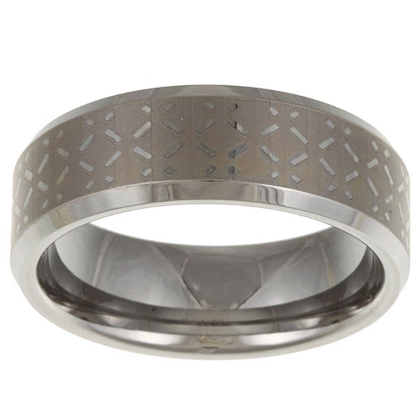Men's Tungsten Etched Crosshatch Band (8 mm)