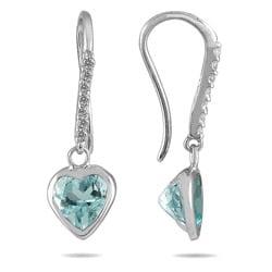 14k White Gold Aquamarine and 1/10ct TDW Diamond Earrings (I-J, I1-I2)