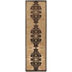 Woven Fenway Natural Indoor/Outdoor Damask Print Rug (2'6 x 7'10)
