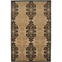 Woven Fenway Natural Indoor/Outdoor Damask Print Rug (3'9 x 5'8)