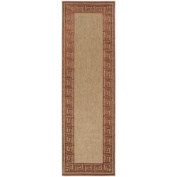 Woven Allston Indoor/Outdoor Geo Border Rug (2'6 x 7'10)